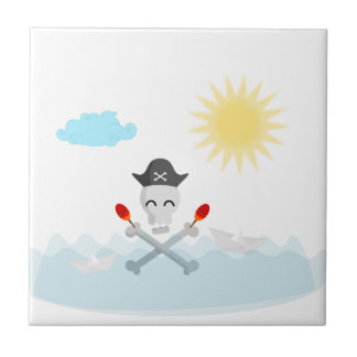 Cute Happy Pirate Skull With Maracas Ceramic Tile