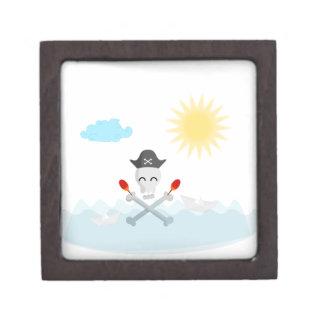 Cute Happy Pirate Skull With Maracas Jewelry Box