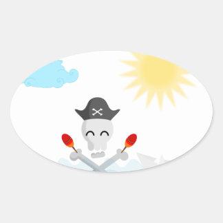Cute Happy Pirate Skull With Maracas Oval Sticker