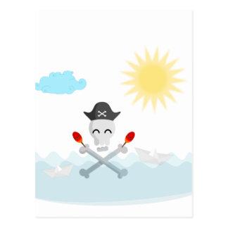 Cute Happy Pirate Skull With Maracas Postcard