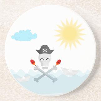 Cute Happy Pirate Skull With Maracas Sandstone Coaster