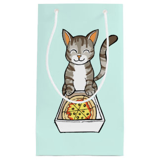 Cute Happy Pizza Cat / Kitten Drawing Gift Bag