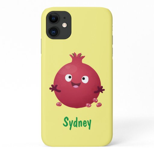 Cute happy pomegranate fruit cartoon iPhone 11 case