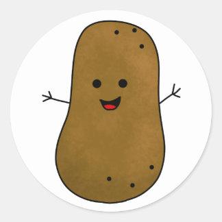Cute Happy Potato Classic Round Sticker
