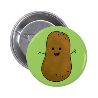 Cute Happy Potato, Green background. Button