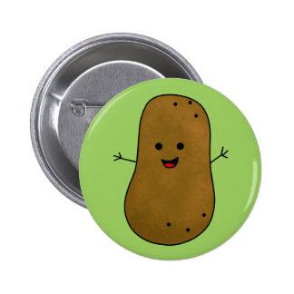 Cute Happy Potato, Green background. Button