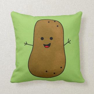 Cute Happy Potato, Green Background Throw Pillow