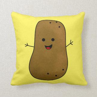 Cute Happy Potato, Yellow background Throw Pillow