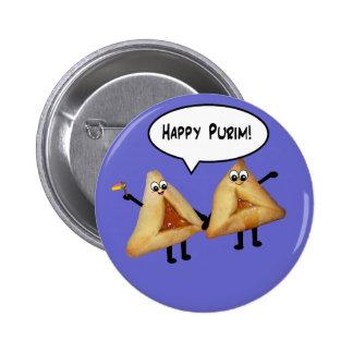 Cute Happy Purim Hamantaschen Pinback Button