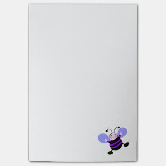 Cute Happy Purple Cartoon Bee with Lavender Wings Post-it Notes