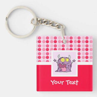 Cute Happy Purple Monster Double-Sided Square Acrylic Keychain
