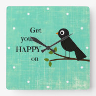 Cute Happy Quote with Bird Clocks