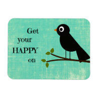 Cute Happy Quote with Bird Flexible Magnet