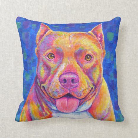 Cute Happy Rainbow Pitbull Dog Throw Pillow