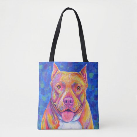 Cute Happy Rainbow Pitbull Terrier Dog Tote Bag