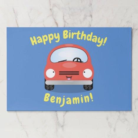 Cute happy red car cartoon illustration paper pad