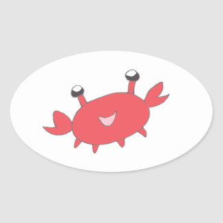 Cute Happy Red Crab Oval Sticker