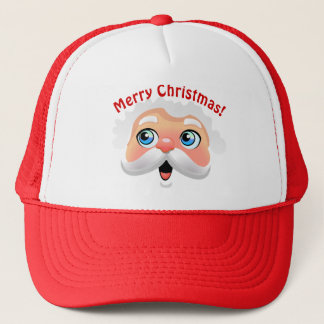 Cute Happy Santa Claus Cartoon Trucker Hat