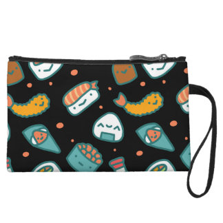 Cute happy seamless sushi pattern on black wristlet