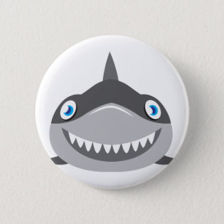 cute happy shark face button