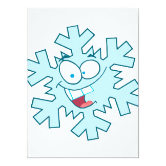 cute happy silly cartoon snowflake character 6.5x8.75 paper invitation card