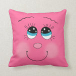 cute happy smiling little angel face dark pink pillow