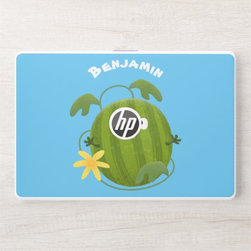 Cute happy smiling watermelon cartoon HP laptop skin