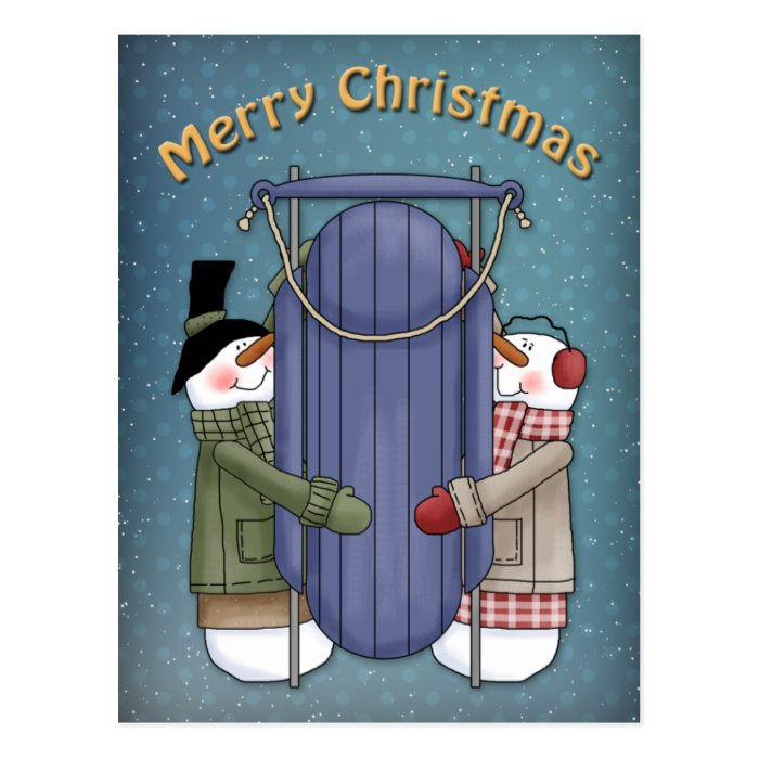 Cute happy Snowman and Sledge design Postcard