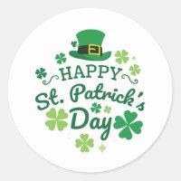 Cute Happy St. Patrick's Day Lucky Celebrate Print Classic Round Sticker