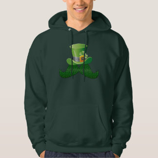 Cute Happy St Patrick's Day Mustache & Hat Hoodie