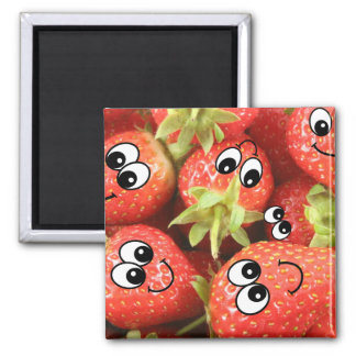 Cute Happy Strawberries 2 Inch Square Magnet