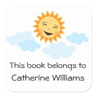 Cute happy sun cartoon kids bookplate stickers