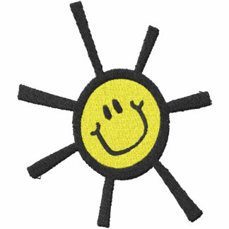 Cute Happy Sun Chest and Large on Back Embroidered Hooded Sweatshirt