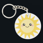 """Cute Happy Sun Keychain<br><div class=""""desc"""">sun, sunny, sunshine, yellow, rays, beams, summer, summery, hot, spring, cartoon, cartoony, cute, kawaii, sweet, adorable, anime, japanese, day, daytime, kid, kids, child, children, girl, girls, girly, character, gold, golden, noon, bright, cheery, happy, cheerful, joy, joyful, pleasant, beautiful, &quot;have a nice day&quot;, smiley, smilie, smile, smiling, smiler, holiday, vacation, beach....</div>"""