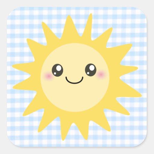 Cute Happy Sun Square Sticker