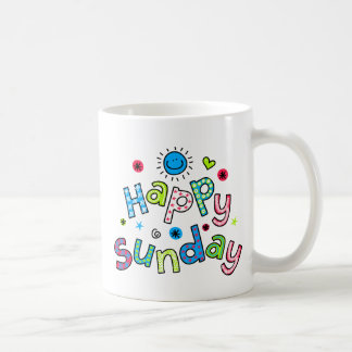 Cute Happy Sunday Week Greeting Text Expression Coffee Mug