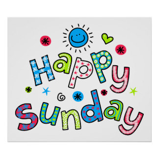 Cute Happy Sunday Week Greeting Text Expression Poster