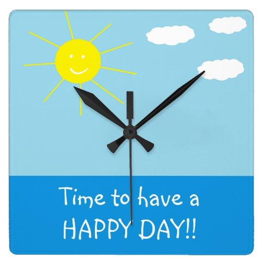 Cute Happy Sunny Day Drawing Wall Clock Zazzlecom