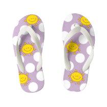 Cute Happy Sunshine And Polka Dot Pattern Kid's Flip Flops