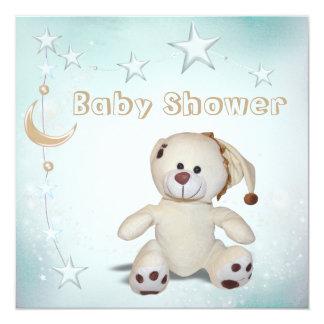 Cute Happy Teddy, Moon & Stars Baby Shower Card