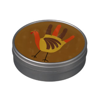 Cute Happy Thanksgiving Hand Print Turkey Gobble Jelly Belly Tins