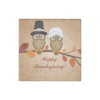 cute happy thanksgiving two owls stone magnet