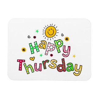 Cute Happy Thursday Week Greeting Text Expression Magnet