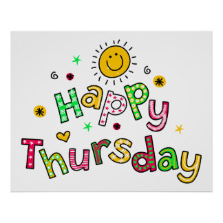 Cute Happy Thursday Week Greeting Text Expression Poster