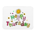 Cute Happy Thursday Week Greeting Text Expression Rectangular Photo Magnet