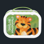"""Cute happy tiger art kids named lunchbox<br><div class=""""desc"""">Cute tiger face painted art lunch box perfect for a little, big cat animal lovers. A great gift for a child to take to school. Personalize this lunch container with the first name and family name of your choice to prevent loss. Customize with your kids&#39;s full name on both sides....</div>"""