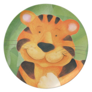 Cute happy tiger face kids plate