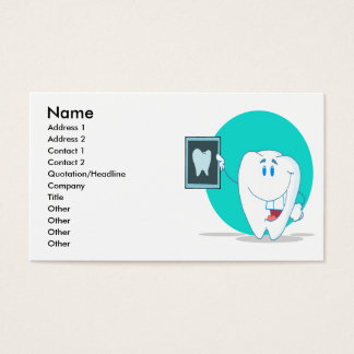 cute happy tooth character with clean xray business card