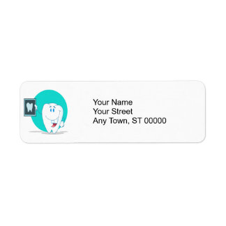 cute happy tooth character with clean xray return address label