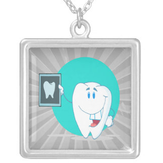 cute happy tooth character with clean xray pendants